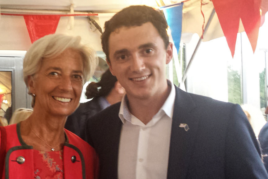 Euromasters student Ben Mitchel with Christine Lagarde.
