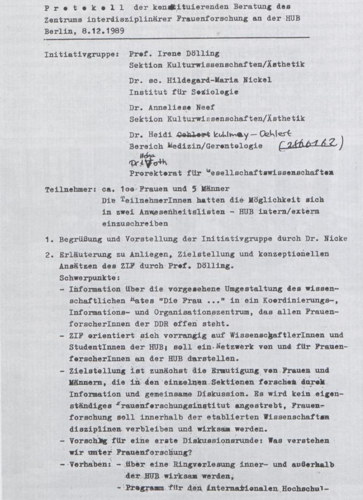 Protokoll der konstituierenden Sitzung des ZiF