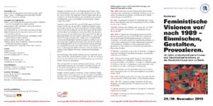 """Flyer der Konferenz """"Feministische Visionen vor/nach 1989 – Einmischen, Gestalten, Provozieren."""""""